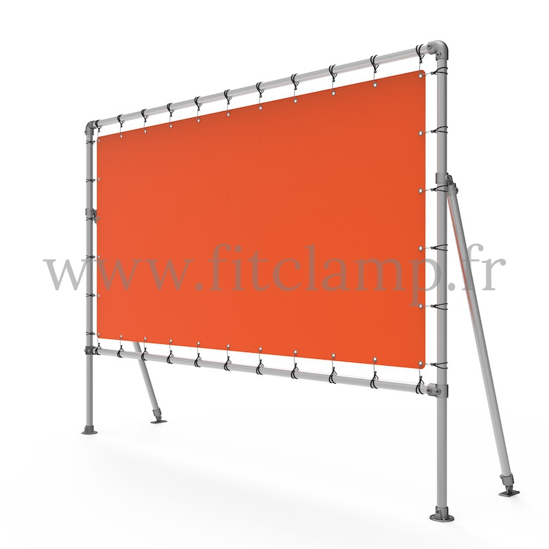 Fixed display frame with tension banner on aluminium tubular structure. FitClamp.