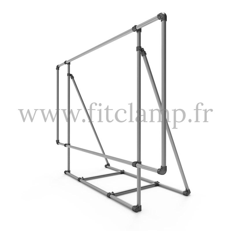 Marco expositor XL sobre soporte para lona publicitaria de estructura tubular. FitClamp