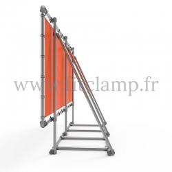 Cadre d'affichage XL sur pied avec bâche tendue en structure tubulaire avec  renfort