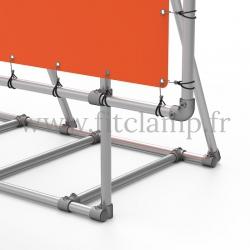 Cadre d'affichage XL sur pied avec bâche tendue en structure tubulaire avec renfort. Détaille raccord tubulaire