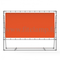 Mobile display frame with tension banner on aluminium tubular structure. Assembling with on simple Allen key.