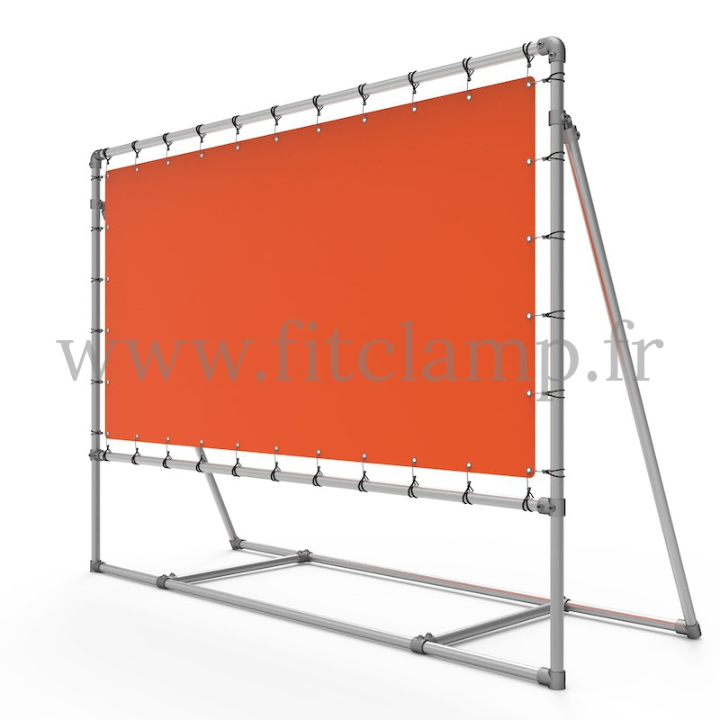 Mobile display frame with tension banner on aluminium tubular structure. FitClamp.