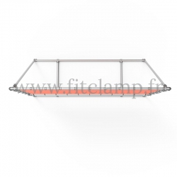 Mobile display frame with tension banner on aluminium tubular structure.
