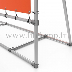 Mobile display frame with tension banner on aluminium tubular structure. Detail