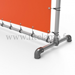 Upright display frame with tension banner on aluminium tubular structure. Foot tube clamp fitting 125