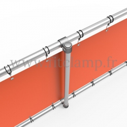 Upright display frame with tension banner on aluminium tubular structure. With reinforcements.