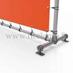 Cadre d'affichage droit avec bâche tendue en structure tubulaire - Piétement raccord tubulaire C-143