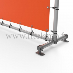 Upright display frame with tension banner on aluminium tubular structure. Foot tube clamp fitting 143