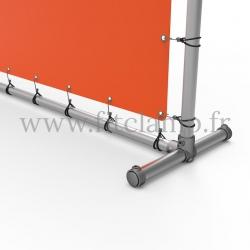 Cadre d'affichage droit avec bâche tendue en structure tubulaire - Piétement raccord tubulaire bague