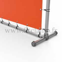 Upright display frame with tension banner on aluminium tubular structure. Foot tube clamp fitting 179