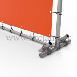 Upright display frame with tension banner on aluminium tubular structure. With ground peg