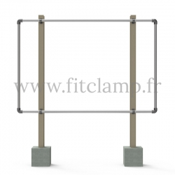 Large display frame for tension banner on aluminium tubular structure. Easy to install.