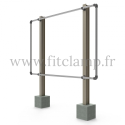 Large display frame for tension banner on aluminium tubular structure. FitClamp.