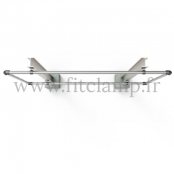 Large display frame for tension banner on aluminium tubular structure.