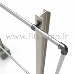 Large display frame for tension banner on aluminium tubular structure. Foot type: tube clamp fitting 143