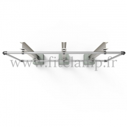 Large display frame for tension banner on aluminium tubular structure. Up view.