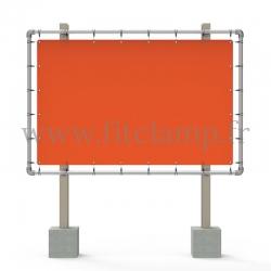 Cadre d'affichage grand format avec bâche tendue en structure tubulaire. Assemblage tubulaire facile à monter