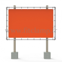 Large tubular display frame with stretched canvas, tubular structure. Easy to install.