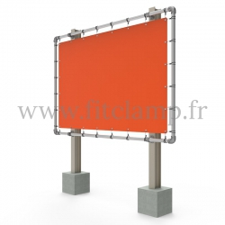 Large tubular display frame with stretched canvas, tubular structure. FitClamp.