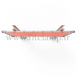 Large tubular display frame with stretched canvas, tubular structure.