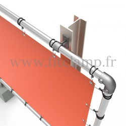 Large tubular display frame with stretched canvas, tubular structure. Detail.