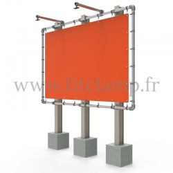 Large tubular display frame with stretched canvas, tubular structure. With tube clamp fitting 143.