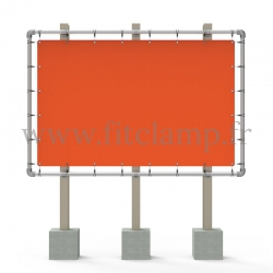Large tubular display frame with stretched canvas, tubular structure. For assembly, all you need is a simple Allen key.