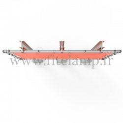 Large tubular display frame with stretched canvas, tubular structure