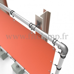 Large tubular display frame with stretched canvas, tubular structure. With tube clamp fitting 143. FitClamp.