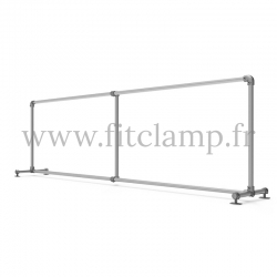 Upright display frame for tension banner on aluminium tubular structure. With tube of reinforcement. FitClamp.