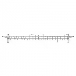 Upright display frame for tension banner on aluminium tubular structure.