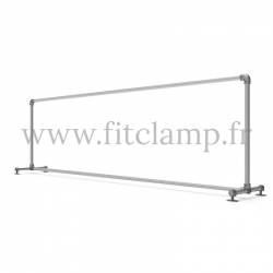 Upright display frame for tension banner on aluminium tubular structure. FitClamp.