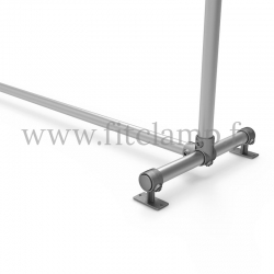 Upright display frame for tension banner on aluminium tubular structure. Foot tube clamp fitting 143