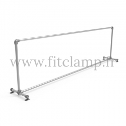 Upright display frame for tension banner on aluminium tubular structure. Easy to install.
