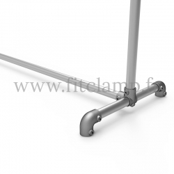 Upright display frame for tension banner on aluminium tubular structure. Foot tube clamp fitting 125
