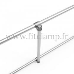 cadre d'affichage droit pour bâche tendue en structure tubulaire . Détaille raccord tubulaire