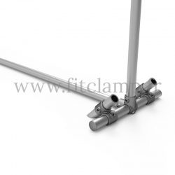 Upright display frame for tension banner on aluminium tubular structure. With ground peg.