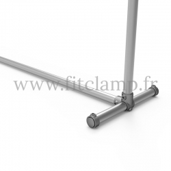 Upright display frame for tension banner on aluminium tubular structure. Foot tube clamp fitting 179