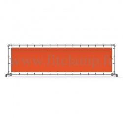 Upright display frame with tension banner on aluminium tubular structure. Easy to install. FitClamp.