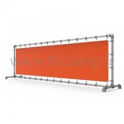 Cadre d'affichage droit avec bâche tendue en structure tubulaire
