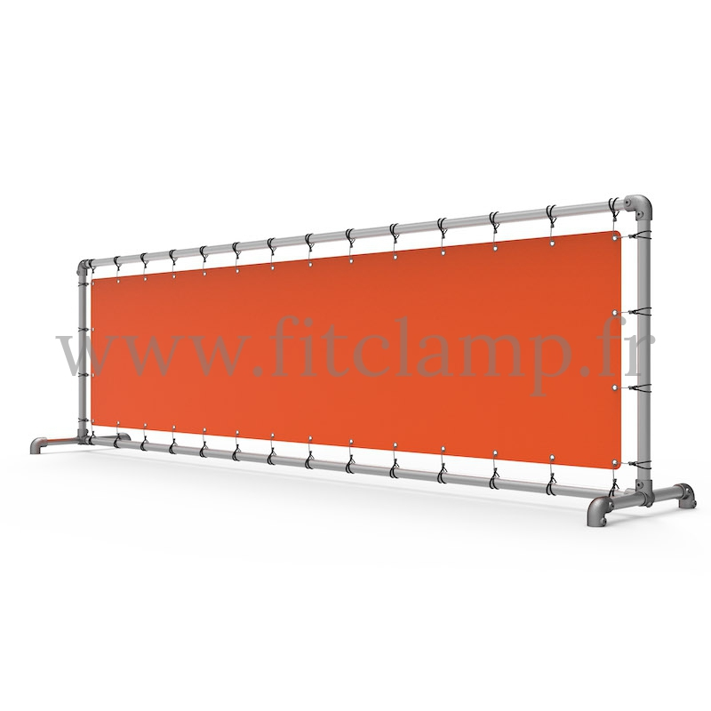 Upright display frame with tension banner on aluminium tubular structure. FitClamp.
