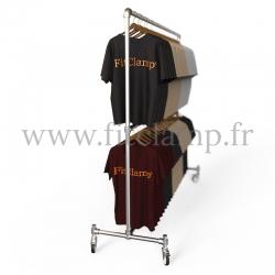 Porte-vêtements double hauteur en structure tubulaire avec roulette en situation. Acier galvanisé Ø B 34. FitClamp