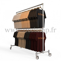 Tubular structure two-tier clothes rail. Quick and easy assembly with an Allen key (provided).