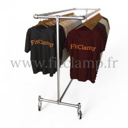 Porte-vêtements double largeur en structure tubulaire acier galvanisé. En situation 6. FitClamp