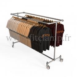 Porte-vêtements double largeur en structure tubulaire acier galvanisé. En situation 2. FitClamp