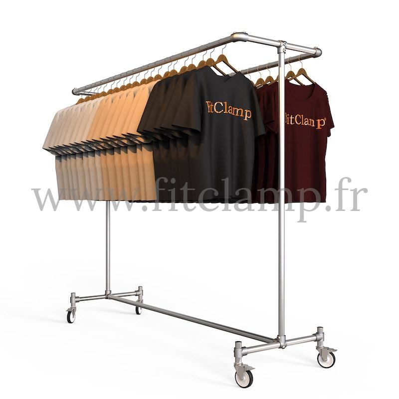 Porte-vêtements double largeur en structure tubulaire acier galvanisé. En situation. FitClamp