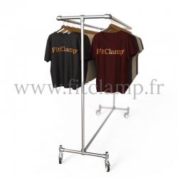 Porte-vêtements double largeur en structure tubulaire acier galvanisé. En situation 4. FitClamp