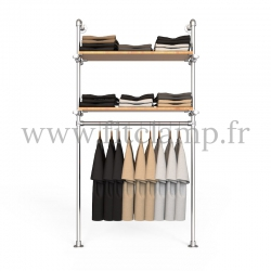 Single-width shelving with hanging wardrobe. B34 Tubular structure. Easy to install. FitClamp