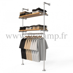 Single-width shelving with hanging wardrobe. Tubular structure. Quick and easy assembly with an Allen key (provided). FitClamp