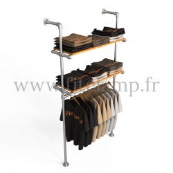 Single-width shelving with hanging wardrobe. B34 Tubular structure. Perfect for shop layouts. FitClamp